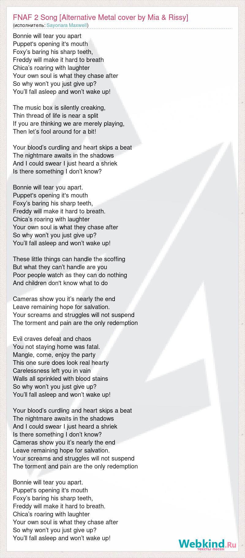 Sayonara Maxwell: FNAF 2 Song [Alternative Metal cover by Mia