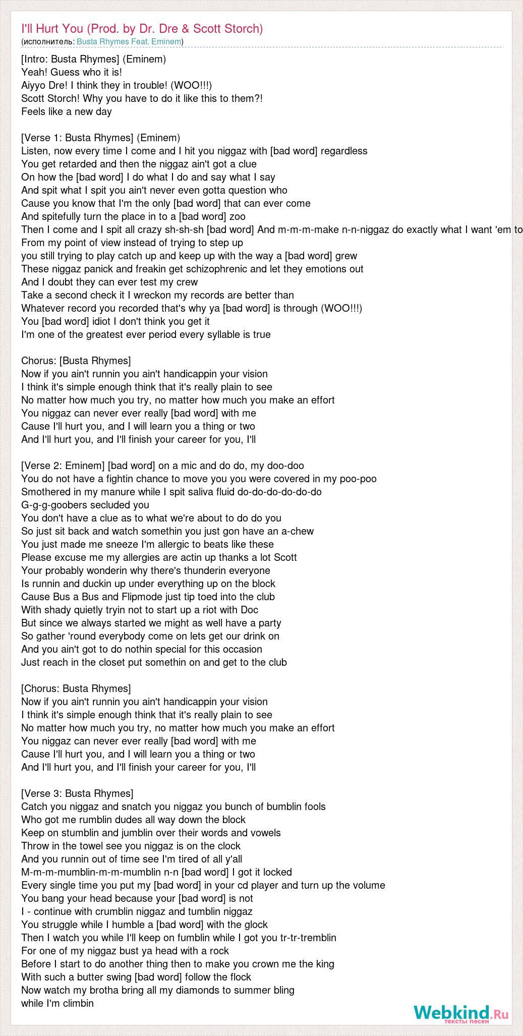 Busta Rhymes Feat  Eminem: I'll Hurt You (Prod  by Dr  Dre & Scott
