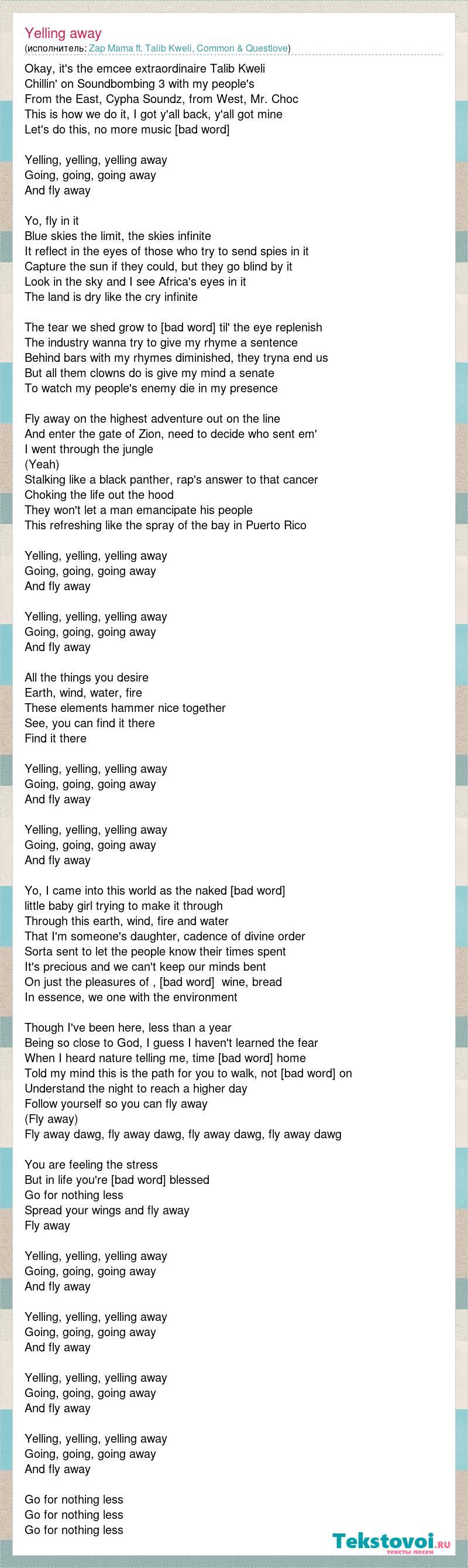 Zap Mama ft  Talib Kweli, Common & Questlove: Yelling away