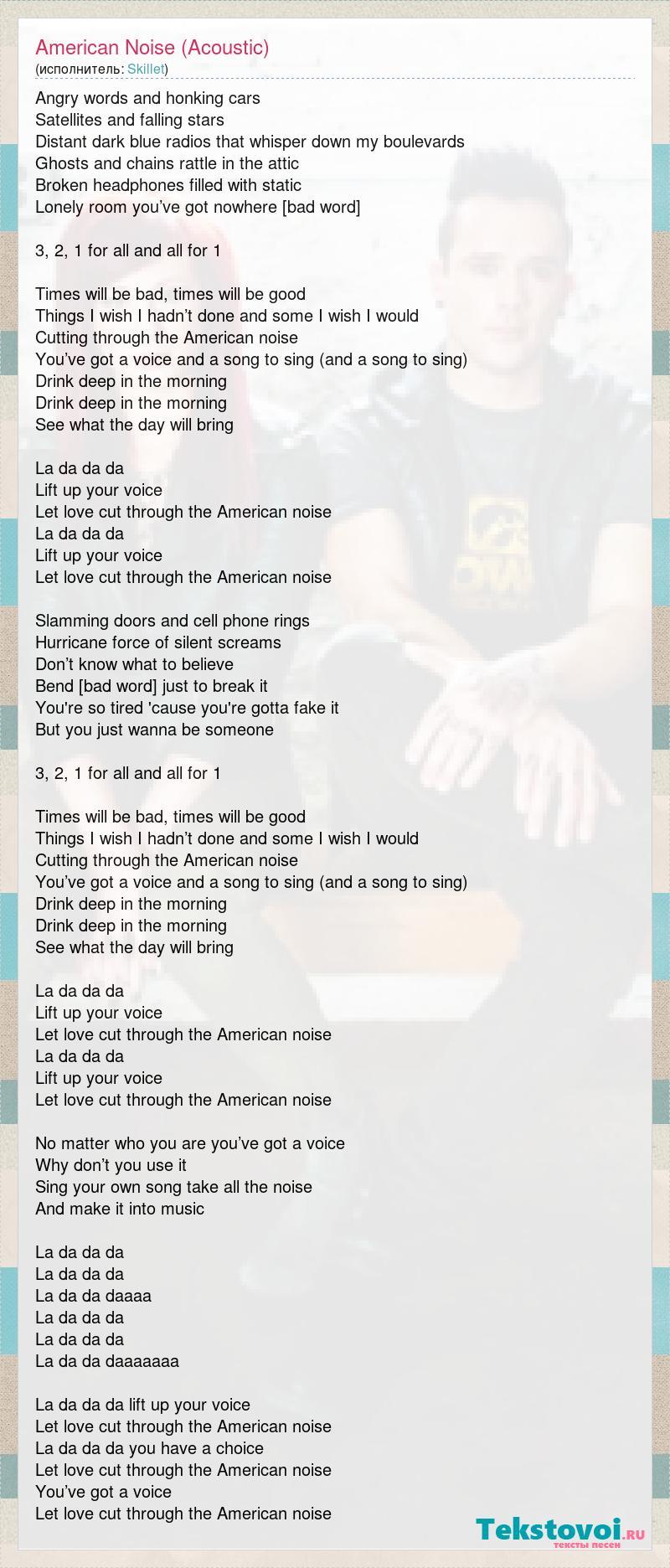 Skillet: American Noise (Acoustic) слова песни