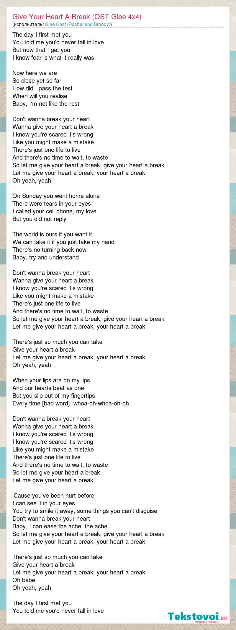 Glee Cast (Rachel and Broody): Give Your Heart A Break (OST